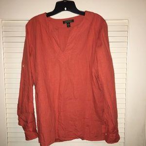 Ralph Lauren - peach large linen shirt